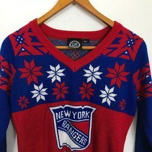 NHL New York Rangers Women Large V-Neck Sweater